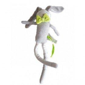 Accueil DPAM doudou DPAM Lapin Gris long bras longue jambe gris rayure nœud vert  pouet