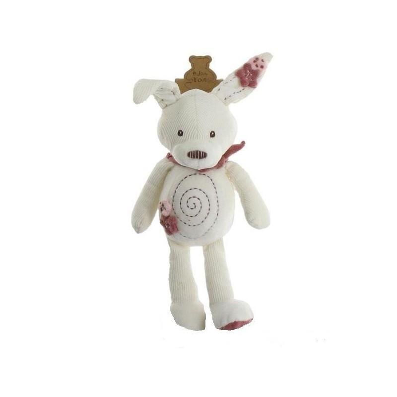 Accueil Histoire d'ours doudou Histoire d'ours Lapin Blanc fleur rose HO1162 Calin Pantin