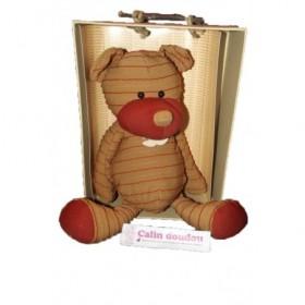 Accueil Histoire d'ours doudou Histoire d'ours Ours Marron rayure rouge 38cms HO1075 Couture Pantin