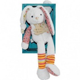 Accueil Histoire d'ours doudou Histoire d'ours Lapin Blanc chaussette rayee 23cms HO1201 Saltimbanque Pantin