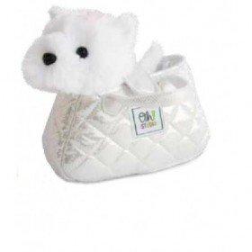 Accueil Histoire d'ours doudou Histoire d'ours Chien Blanc dans son sac argenté 18cms OH1022 Oh studio Pantin