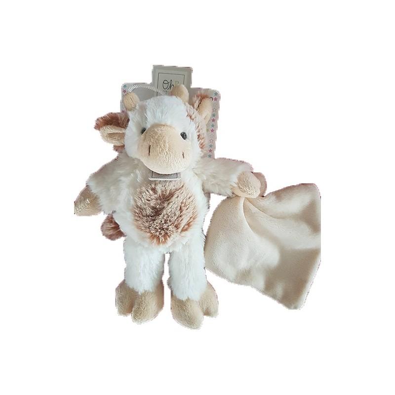 Accueil Histoire d'ours doudou Histoire d'ours Vache Blanc avec mouchoir 20cms Oh studio Pantin
