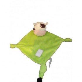Accueil Carré Blanc doudou Carré Blanc Vache Vert vache plat vert losange tete blanc et marron Plat