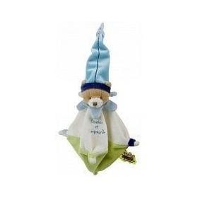 Accueil Doudou et Compagnie doudou Doudou et compagnie Ours Blanc mini acidule DC1481 bonnet bleu dessous vert Les Tatoo plat