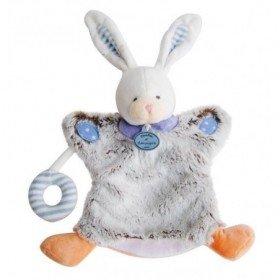 Accueil Doudou et Compagnie doudou Doudou et compagnie Lapin Gris rayure bleu pois blanc DC2900 Choupidoudou Marionnette