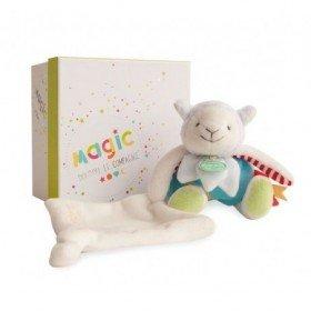 Accueil Doudou et Compagnie doudou Doudou et compagnie agneau Bleu Magic avec mouchoir 25cms DC3026 Les Luminescents Pantin