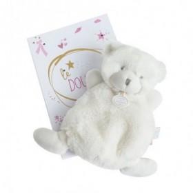 Accueil Doudou et Compagnie doudou Doudou et compagnie Ours Blanc etiquette rose 19cms Lumineux Plat