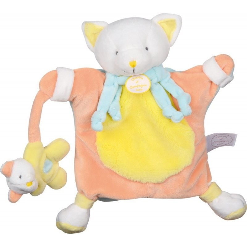 Doudou Babynat babynat chat Cleo adore la mer poisson jaune marionnette BN698 Babynat HO95