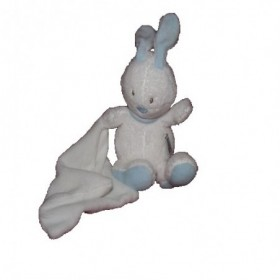 Accueil Babysun doudou Babysun Lapin Blanc mouchoir foulard bleu 15cms Pantin