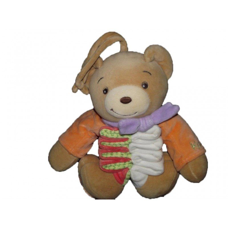 Accueil Kaloo doudou Kaloo Ours Orange foulard violet  Musical
