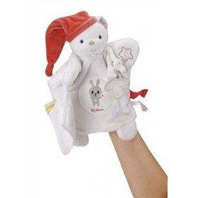 Accueil Kaloo doudou Kaloo Ours Blanc Bonnet Rose Luminescent Imagine Marionnette