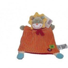 Accueil Mots d'enfants doudou Mots d'enfants Lion Orange criniere jaune rayure  plat