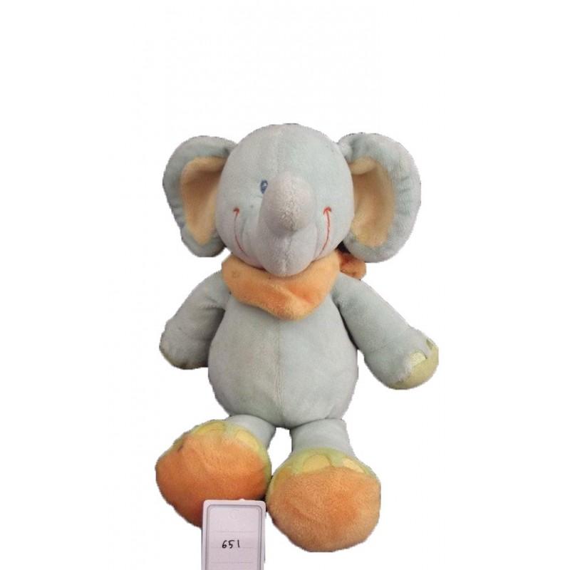 Accueil Nicotoy Doudou Nicotoy Elephant Bleu foulard jaune pattes vert 27cms Pantin