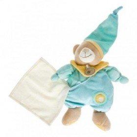 Accueil Babynat doudou Babynat Ours Bleu salopette mouchoir bonnet 26cms Pantin