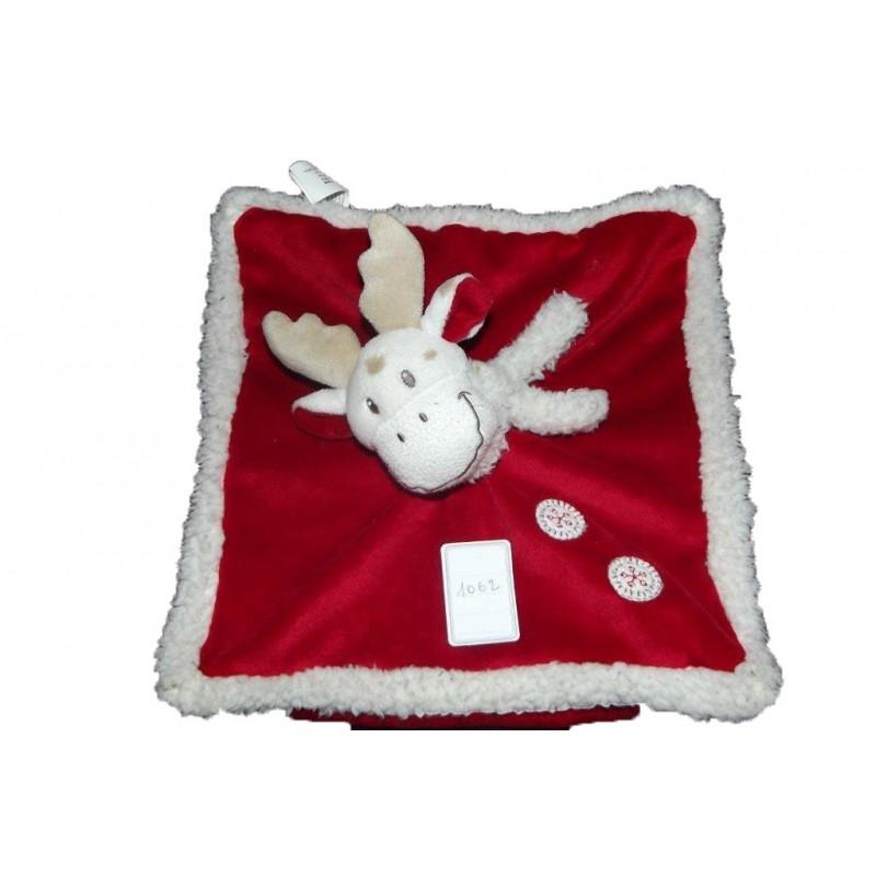 Accueil Nicotoy Doudou Nicotoy Renne Rouge foulard blanc flocon de neige plat