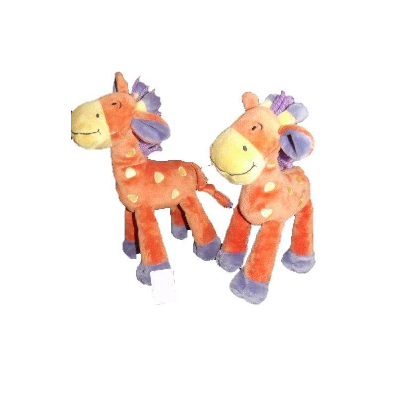 Accueil Nicotoy Doudou Nicotoy Girafe Orange Lot de 2 coeur jaune criniere violet  Pantin