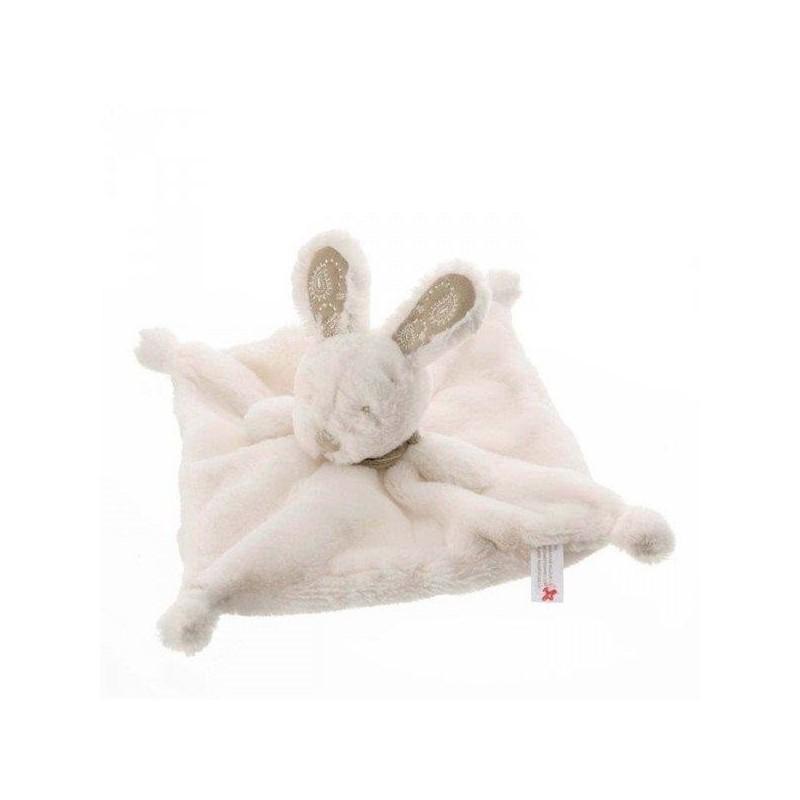 Accueil Nicotoy Doudou Nicotoy Lapin Blanc bandana foulard gris fonce plat