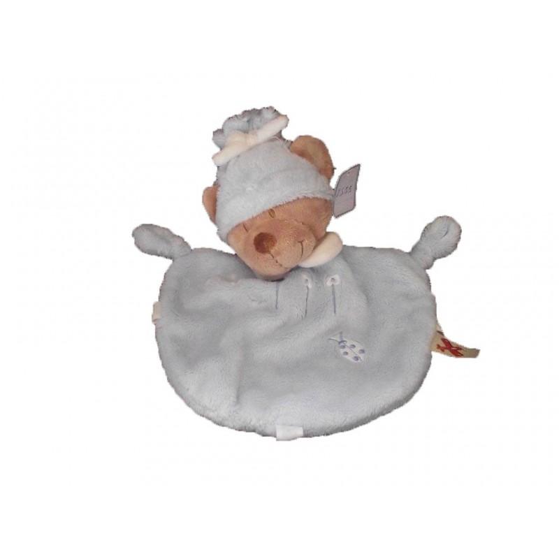 Doudou Nicotoy Ours Bleu 4 fleurs coccinelle bonnet col blanc  plat