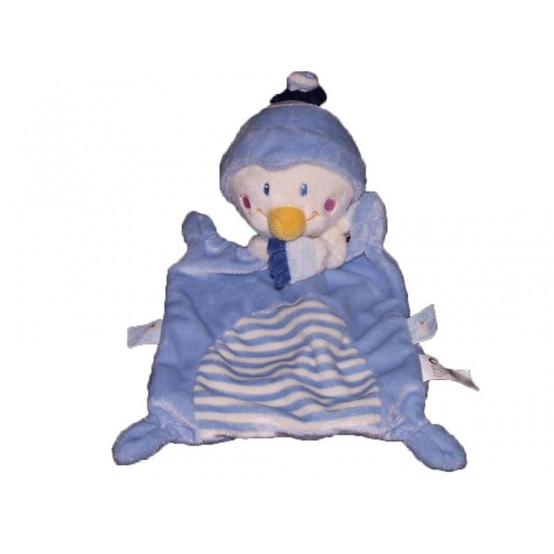 Accueil Nicotoy Doudou Nicotoy Pingouin Bleu rayure foulard blanc plat