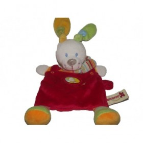 Accueil Nicotoy Doudou Nicotoy Lapin Rouge orange foulard rayure Attache tetine