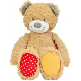 Accueil Nicotoy Doudou Nicotoy Ours Beige longues jambes vert rouge beige 35cms Youmy Pantin