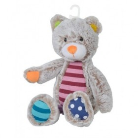 Accueil Nicotoy Doudou Nicotoy Ours Gris Ours Cops & Co Gris Rayure Rose oreille jaune 27cms Cops & Co Pantin