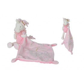 Accueil Nicotoy Doudou Nicotoy Licorne Blanc Unicorn Rose avec Mouchoir 24cms Licorne Pantin