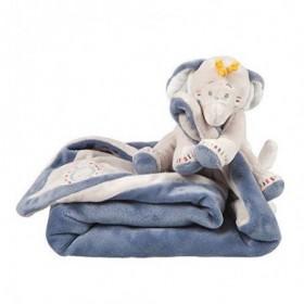 Accueil Noukies doudou Noukies Elephant Bleu Bao & Wapi Couverture