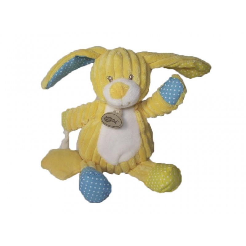 Accueil Babynat doudou Babynat Lapin Jaune etoile jaune hochet BN738 Les Coteles Hochet