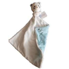 Accueil Obaibi / Okaidi doudou Obaibi / Okaidi Chat Bleu Rayure Bleu Mouchoir Blanc Bleu Pantin