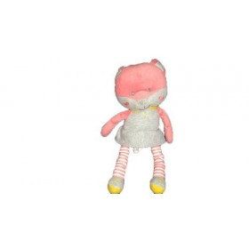 Accueil Obaibi / Okaidi doudou Obaibi / Okaidi Chat Rose Robe Grise 23cms Pantin