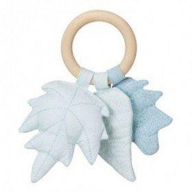 Accueil Camcam doudou CamCam Feuille Bleu Mix Wood Ring Hochet