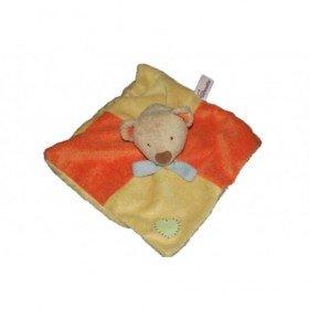 Accueil Pommette Doudou Pommette Ours Jaune orange cœur vert foulard bleu Plat