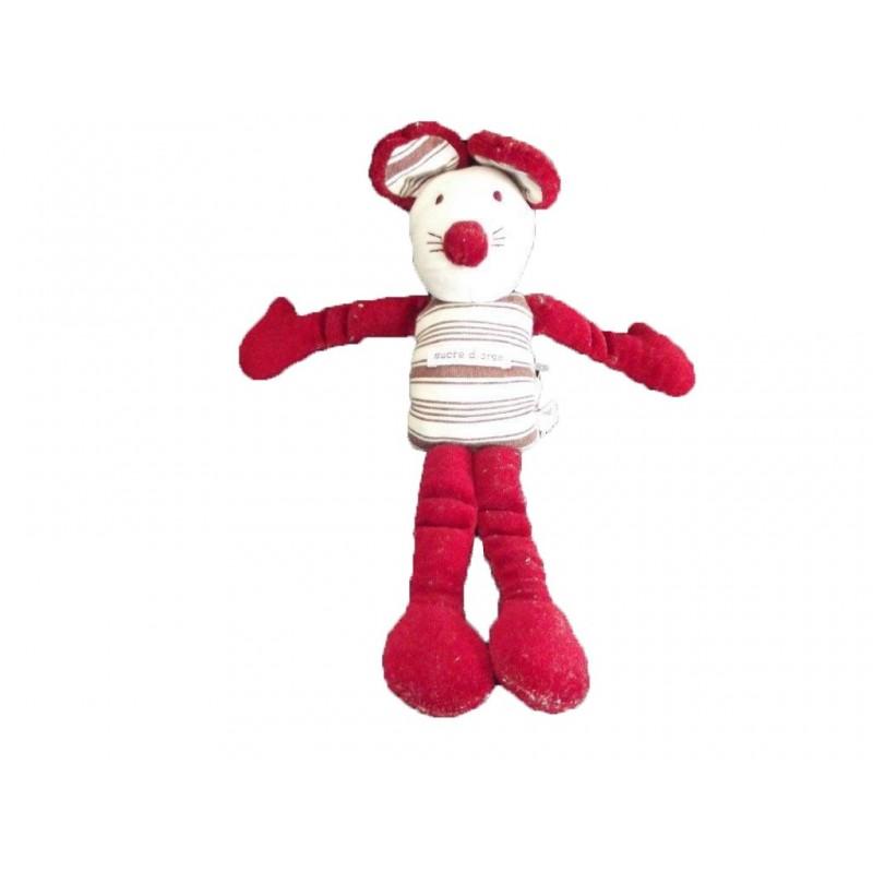 Accueil Sucre d'orge Doudou Sucre d'orge Souris Rouge bordeaux bras jambes Pantin