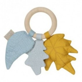 Accueil Camcam doudou CamCam Feuille Jaune Mix Moutarde Wood Ring Hochet
