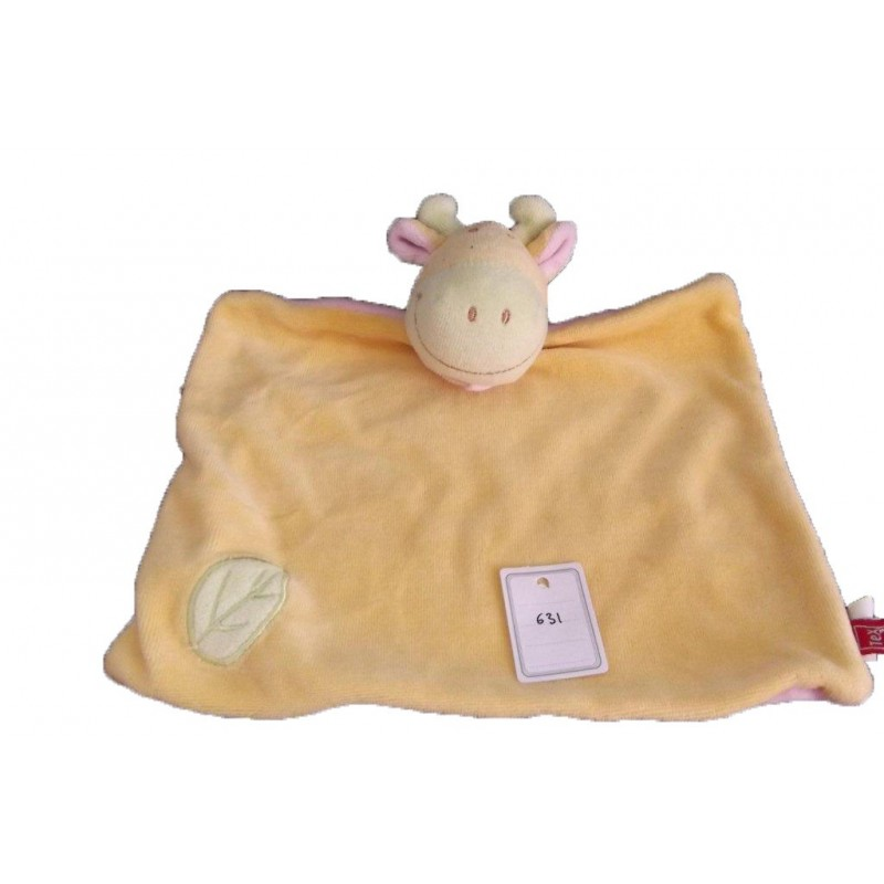 Accueil Tex Doudou Tex Vache Jaune feuille verte foulard rose plat