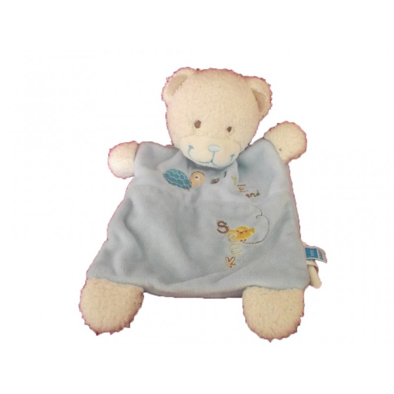 Accueil Tex Doudou Tex Ours Bleu tortue Hide and Seek plat