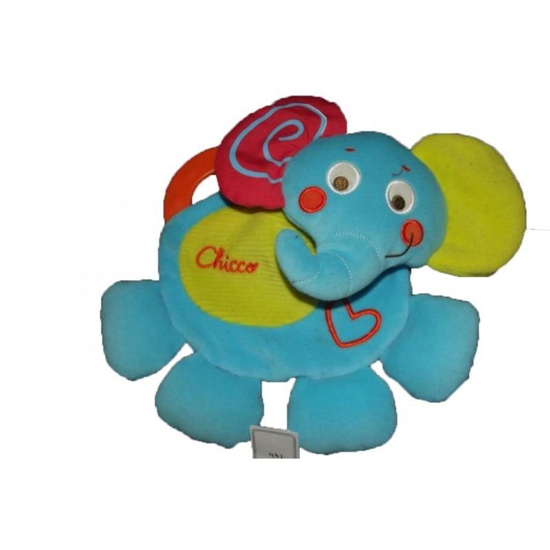 Accueil Z'autres marques Doudou Chicco Elephant Bleu rouge vert dentition plat