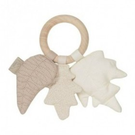 Accueil Camcam doudou CamCam Feuille Beige Mix Wood Ring Hochet