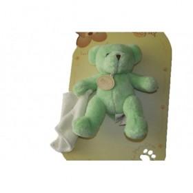 Accueil Babynat doudou Babynat Ours Vert mouchoir blanc BN3531 Les Douceurs Pantin