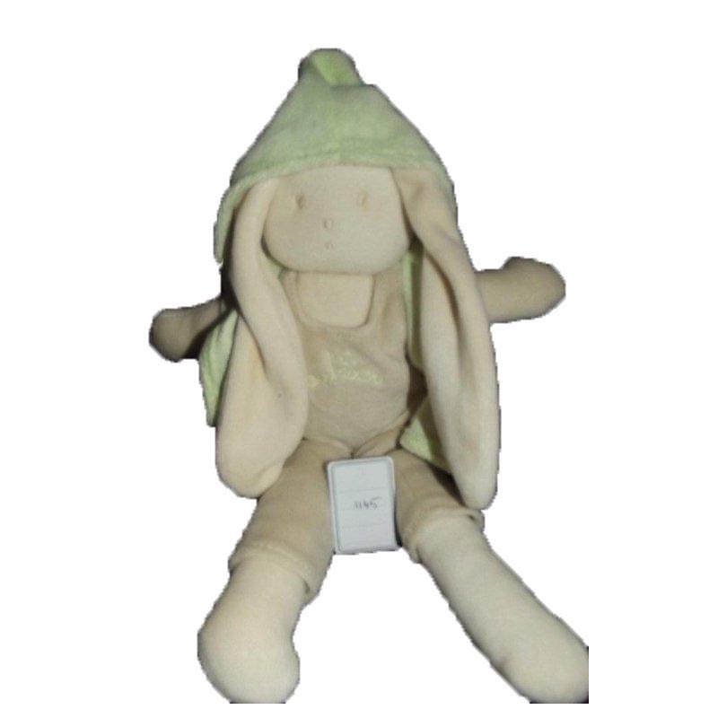 Accueil Z'autres marques Doudou Aubisou Lapin Beige salopette veste verte 26cms Pantin