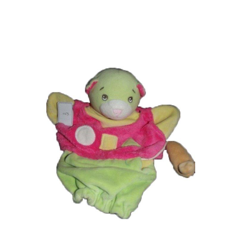 Accueil Z'autres marques Doudou Nounours Chat Vert  Marionnette