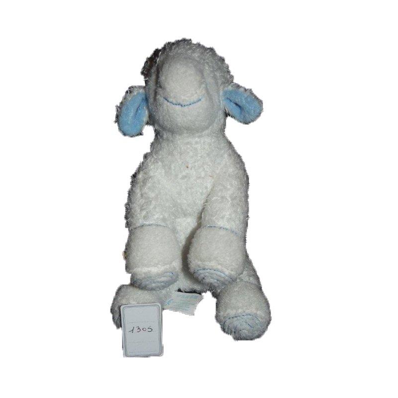 Accueil Z'autres marques Doudou Avene Mouton Blanc bouclette spirale bleu agneau Pantin