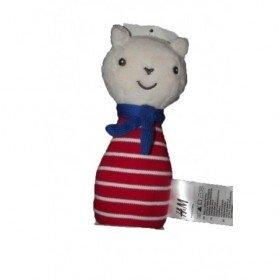 Accueil Z'autres marques Doudou H&M Ours Rouge rayure blanc foulard bleu Hochet
