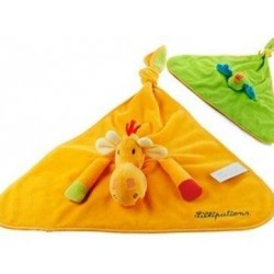 Accueil Z'autres marques Doudou Lilliutiens Girafe Orange Noemie au dos oiseau perroquet coco vert Noemie Plat