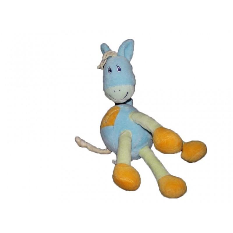 Accueil Z'autres marques Doudou kiabi Cheval Bleu patte orange et vert 22cms Pantin