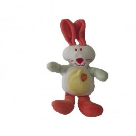 Accueil Z'autres marques Doudou Auchan Lapin Blanc oreille rouge cœur rouge 16cms Pantin