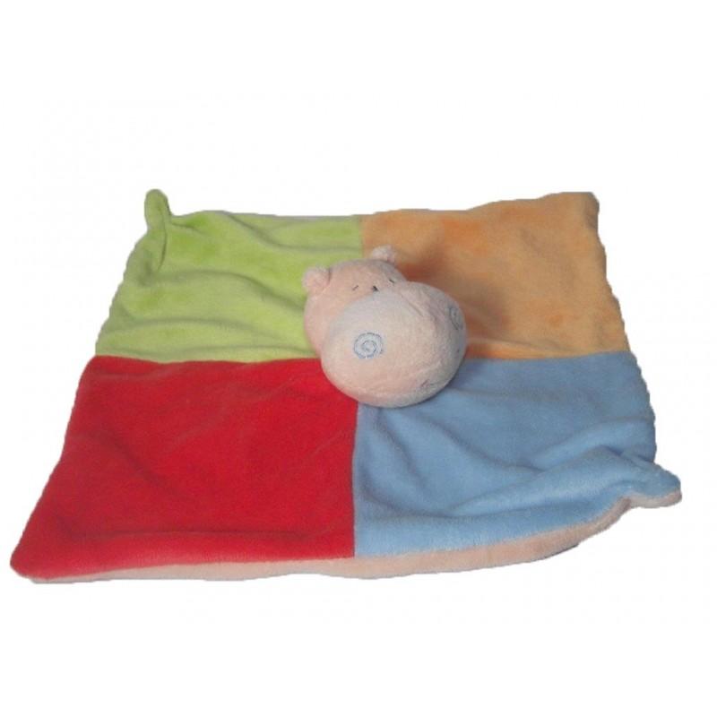 Accueil Z'autres marques Doudou Baby Friends Eddy Toys Hippo Orange carre vert bleu rouge  Plat