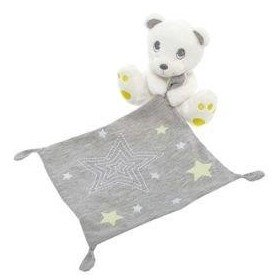Accueil Z'autres marques Doudou kiabi Ours Blanc mouchoir gris etoile jaune luminescent Pantin