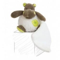 Accueil Babynat doudou Babynat Hippo Blanc mouchoir feuille vert BN048 Bazile Pantin